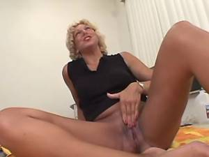 Blonde granny sucks appetizing cock and fistfucked