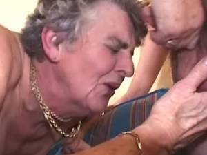 Grannies hard fuck and get double cumload in orgy