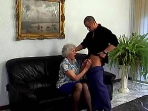 Granny with big tits sucks fresh cock of amateur guy