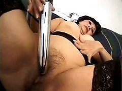 Brunette mom with nice boobs solo