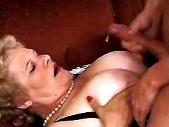 Chubby granny gets cumload on boobs