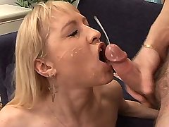 Beautiful blond mature has hard anal n gets facial