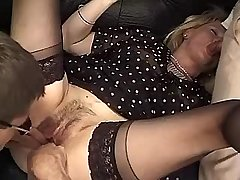Two guys get blowjob n lick pussy to blonde mature