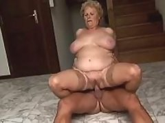 Fat granny gets whore cum on flabby tits after hard fuck