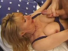 Busty mature gets cum after fuck
