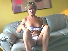 Granny spoils guy n licked on sofa
