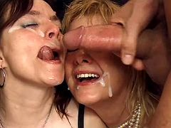 Three old mamas getting cum shower