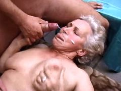 Hot granny gets facial in hard orgy