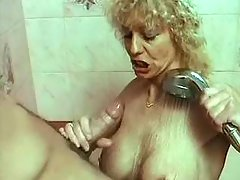 Horny old blonde sucks and fucked in bathroom